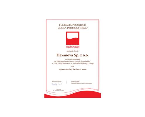 dyplom 1 495x400 - Żywienie a zdrowie prokreacyjne kobiety<br />15.11.2019, Poznań