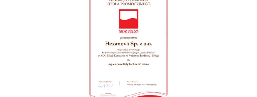 """dyplom 1 845x321 - Lactinova mama uzyskała nominację do Polskiego Godła Promocyjnego """"Teraz Polska"""""""